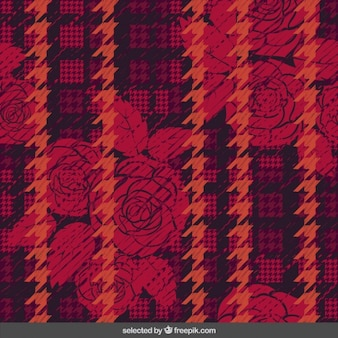 Floral background with houndstooth
