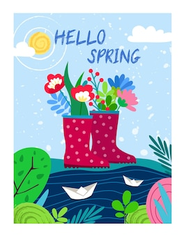 Floral background with paper boats and rubber boots