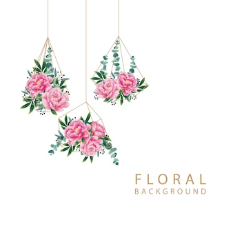 Floral background with peony flower and eucalyptus leaf