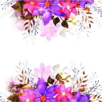 Цветочный фон с розовыми и фиолетовыми цветами акварелью.