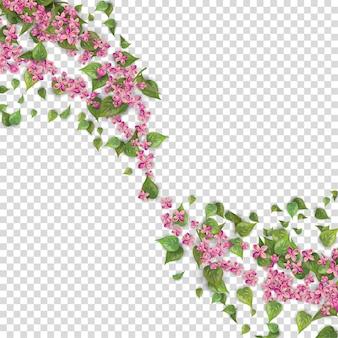 분홍색 비행 꽃과 잎 꽃 배경