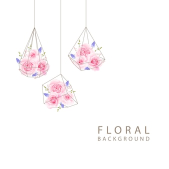 Floral background with pink rose in terrarium