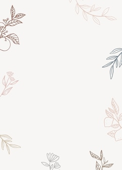 Floral background with plants in lineart style