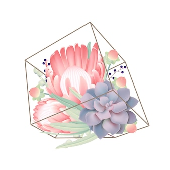 Floral background with protea flower and succulent in terrarium