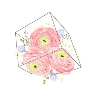 Floral background with ranunculus flower in terrarium