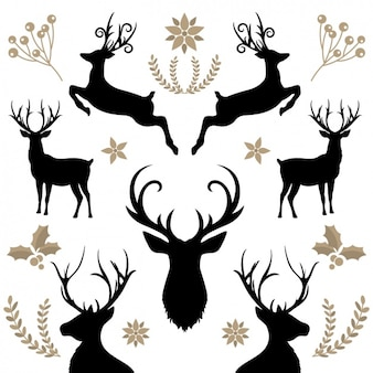 Floral background with reindeers