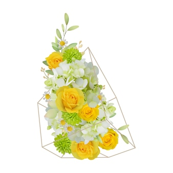 Floral background with roses and hydrangea in terrarium