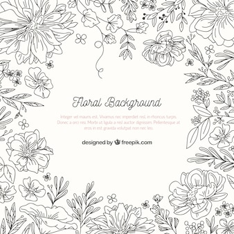Floral background with sketchy style