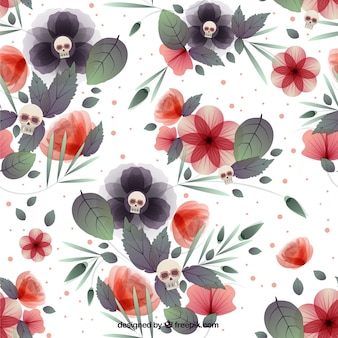 Floral background with skulls