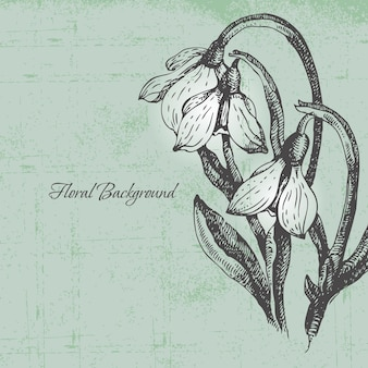 Floral background with snowdrop in retro style