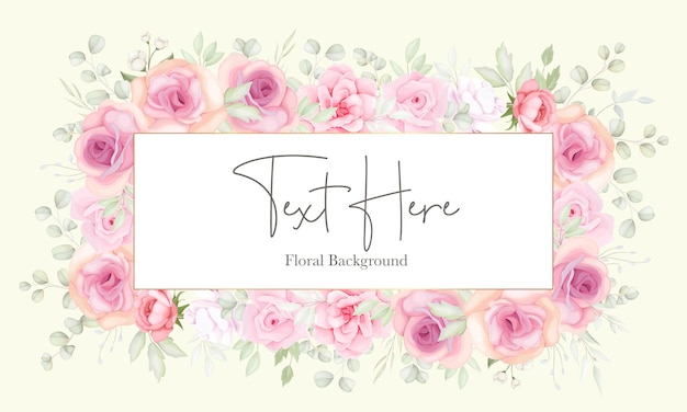 Цветочный фон с мягким цветком и дизайном листьев