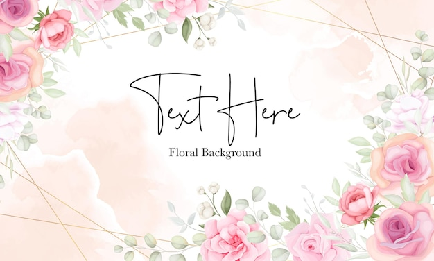 Floral background with soft flower and leaves design