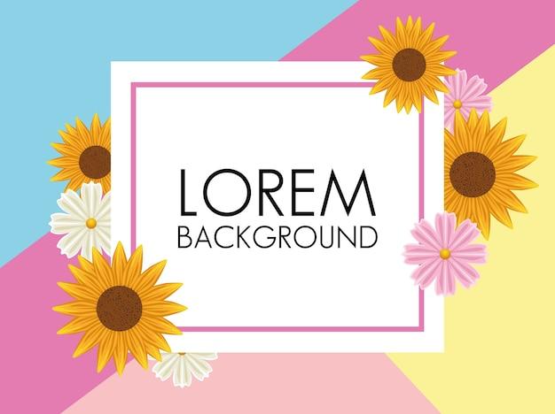 正方形のフレームと色の花と花の背景。