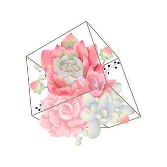 테라 리 움의 succulents와 꽃 배경