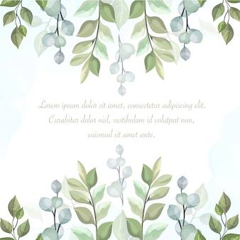 Floral background with text template and leaves in watercolor style