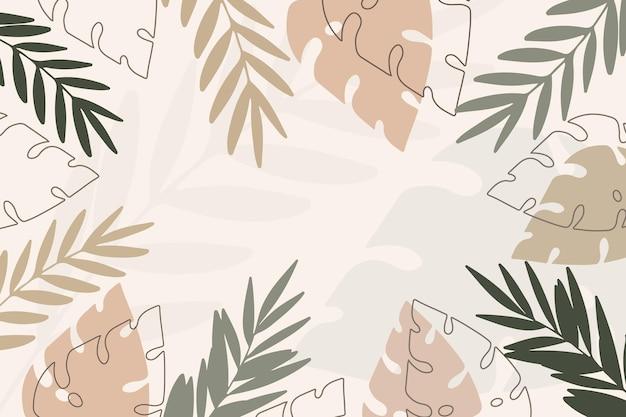 Цветочный фон с тропическими листьями и органическими формами.