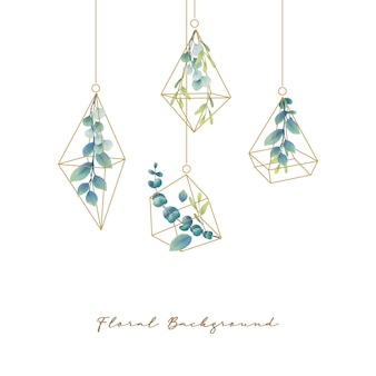 Floral background with watercolor eucalyptus leaves in terrarium