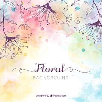 Floral background with watercolor style
