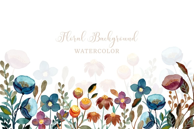 Floral background with watercolor