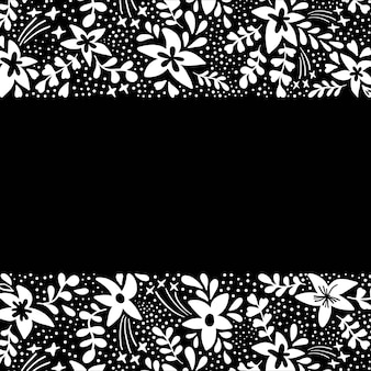 Floral background with white flowers on black in flat style.