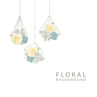 흰 장미와 테라리움에 즙이 많은 꽃 배경