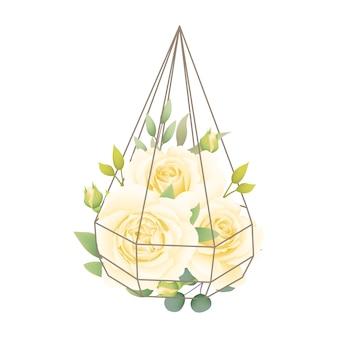 테라 리 움에 흰 장미와 꽃 배경
