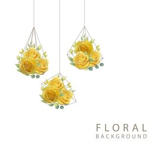 테라 리 움에 노란 장미와 꽃 배경