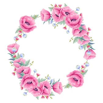 Floral background wreath with poppy flower and eucalyptus