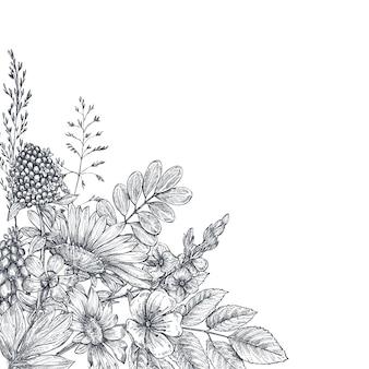 手描きの花や植物と花の背景。スケッチスタイルのモノクロのベクトル図。