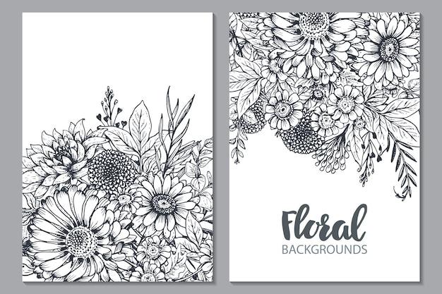Цветочные фоны с рисованной цветами и растениями.