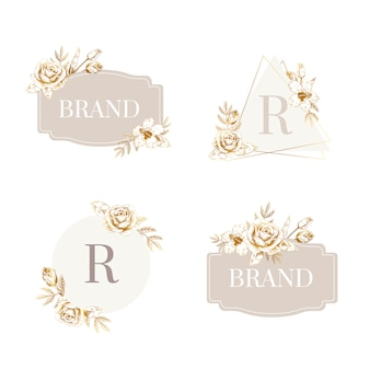 Floral badge set