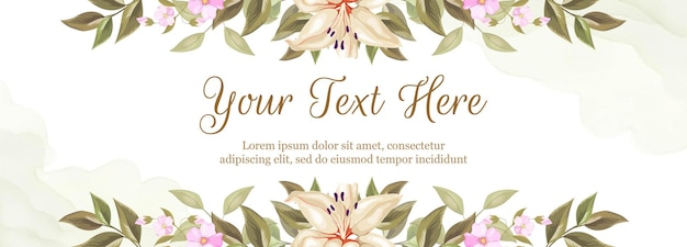 Floral banner background for wedding decoration. with lily and rose flowers