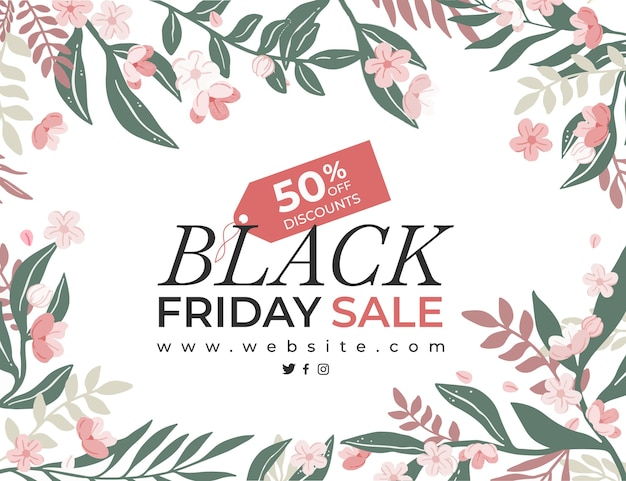 Floral banner for black friday