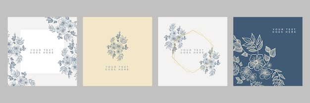 Floral banner design template in simple modern style