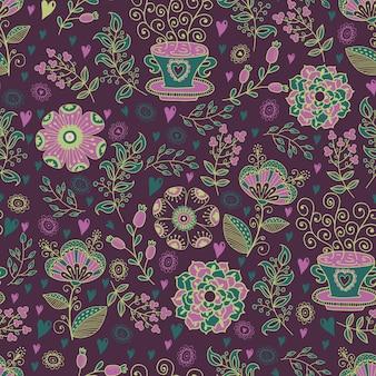Цветочный баннер в винтажном стиле яркий ретро орнамент
