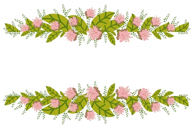 Floral banner isolated on white background.