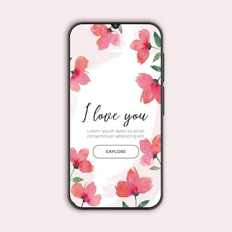 Floral banner for valentine's day with smarthphone