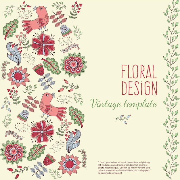 Floral banner in vintage style bright retro ornament