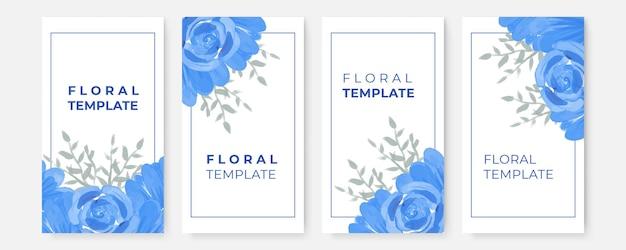ソーシャル メディア ストーリー テンプレート用の花バナー水彩グリーティング カード コレクション