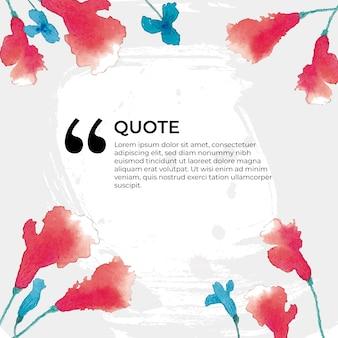 水彩で引用と花のバナー