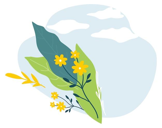 Цветочный баннер с небом, облаками и цветущими растениями