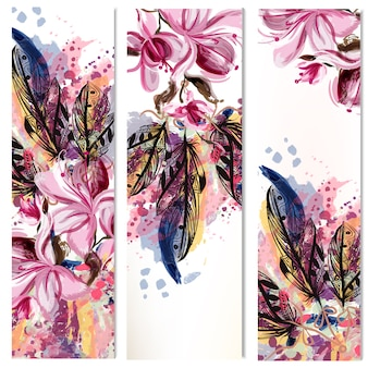 Floral banners collection