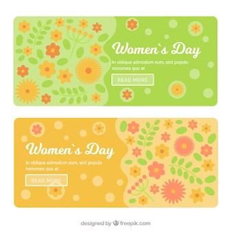 Bandiere floreali in design piatto per il giorno delle donne