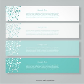 Floral banners in different green tones