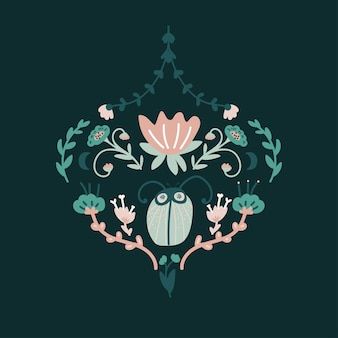 Floral baroque design with bug.