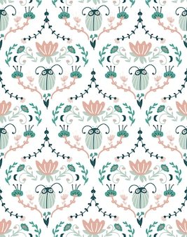 Floral baroque design with bugs. damask seamless pattern.