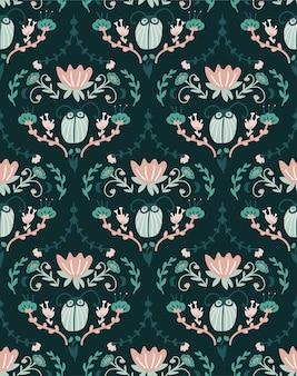 バグのある花柄のバロックデザイン。ダマスク織のシームレスパターン。