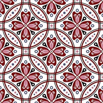 원활한 플로랄 바틱 패턴