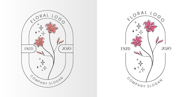 美容院のスパやブティック、化粧品ビジネスのための花の美しさフェミニンなロゴ Premiumベクター