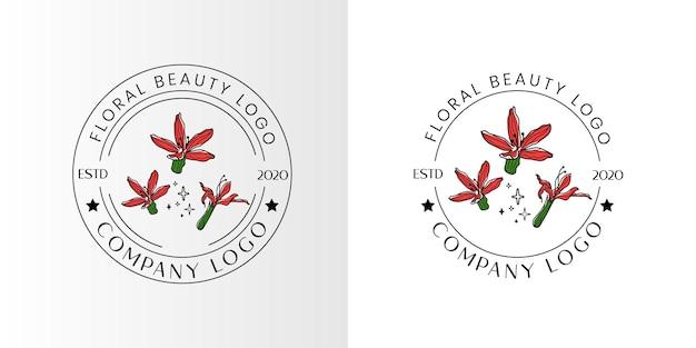 美容院のスパやブティック、化粧品ビジネスのための花の美しさフェミニンなロゴ